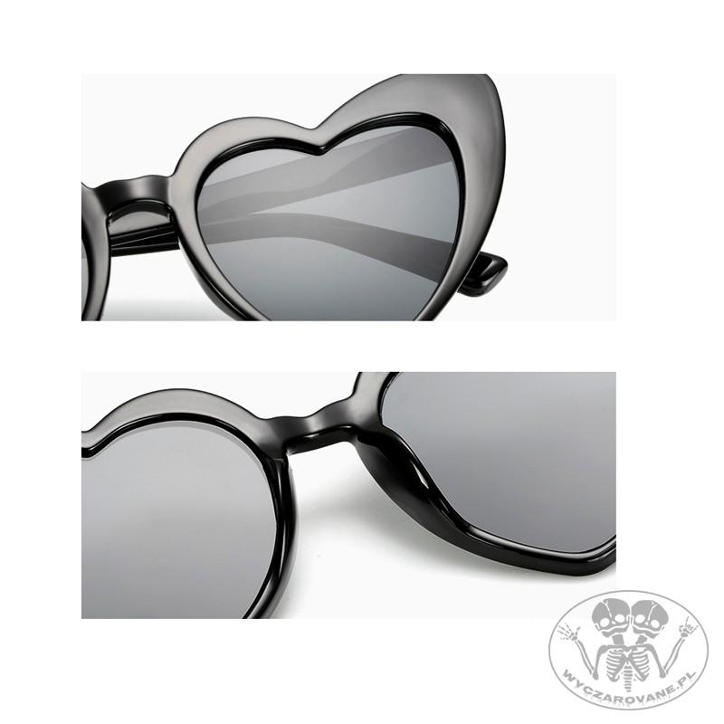 Okulary Retro Serca Pin up przeciwsłoneczne czarne